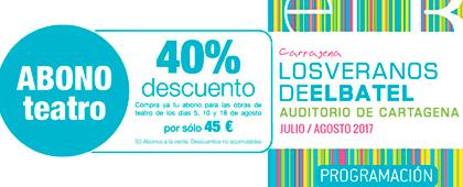 ABONO TEATRO. 40% de descuento. Compra ya tu abono para las obras de teatro de los días 5, 10 y 18 de agosto por solo 45€.